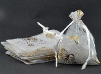 "300pcs White Butterfly Organza Jewelry Bags Pouches3x3.5""+ Gift & Free Shipping"