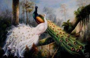 a MÃO de 100% PINTOU A PINTURA A ÓLEO que da LONA o pavão bonito garantiu o transporte livre de 100%