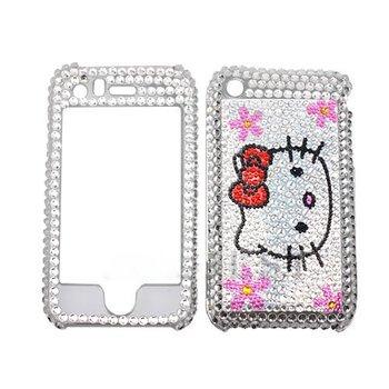 Free Shipping Bling cell phone case White Hello kitty Bling Rhinestones Hard plastic Full Cover Case for Apple Iphone 3G 3GS