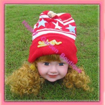 Free shipping!Baby hat Crochet beanie with flowers,girls flower beanie hat,100% cotton Yarn