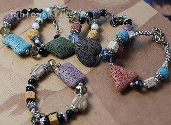 Wholesale Unusual Ladies Ethnic Minority Wooden Bead  Bracelet Jewelry w/ Volcano Rock Pendant 30pcs/lot Free Shipping