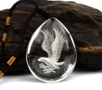 Fashion Natural crystal pendant necklace Nature white Crystal sculpture eagle style [free shipping]
