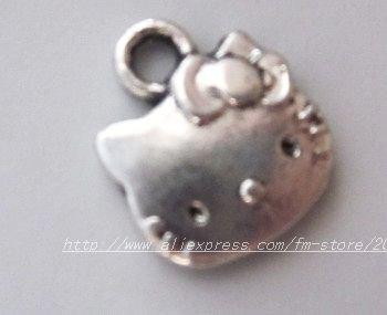 s4711 Wholesale 100Pcs Fashion Tibet Silver Hello KITTY  Charms 13*11MM
