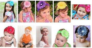 Wholesale - Crochet head band bow clip flower Crochet girls Hair bands hairpins baby hair--DYQ313
