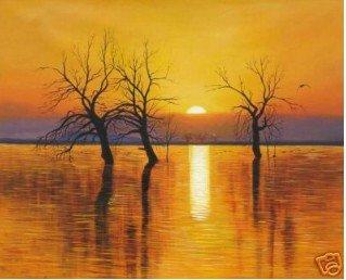 """artesanato pintura a óleo de arte: árvores pôr do sol água"""" 24x36"""" garantido 100% frete grátis(China (Mainland))"""