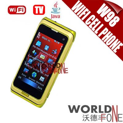 Wholesale-FREE SHIPPING!!! W98 WiFi Cell Phone 3.0 inch Touch Screen Quad Band Dual Cards TV Mobile Phone Java 10pcs/lot(WF-W98)(China (Mainland))