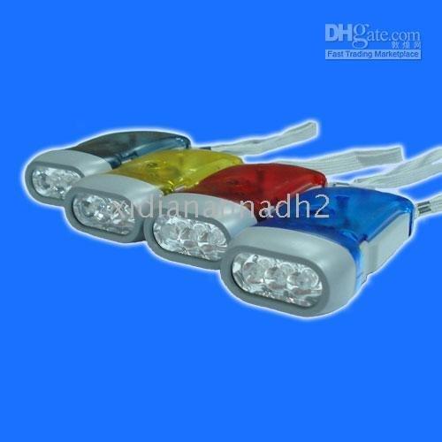 200pcs/lot Hand Press Powered Wind Crank 5 LED Flashlight Torch free dropshipping Brand new Camping lamp(China (Mainland))