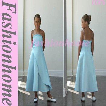 Attractive Free shipping Tea Length Satin Flower Girl Dress CC076