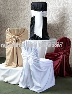 Wholesale Price: White Satin Fabric Self-Tie Universal Chair Cover