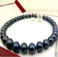 GENUINE 9-10 MM TAHITIAN BLACK PEARL NECKLACE  shipping free