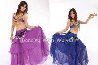 3pcs/ Lots Belly Dance 3pcs Set:Petal Bra + Cake Skirt + Hip Scarf