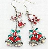 Santa Claus Bell Reindeer Asymmetric Earrings As Christmas Gift 40pcs/lot 2 pcs/pair+Gift&Free Shipping