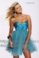 free shipping blue strapless short  kne length custom size wedding dress 6131