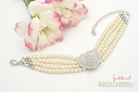 Charms /Four layers of pearl full drill heart-shaped logo bracelet/30pcs/HOT SELL