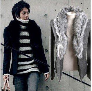 fur neck cashmere Jacket /disassemble overcoat/soft warmming cashmere suit/bombazet coat/black coat free shipping