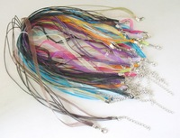 FREE SHIPPING 100 MIXED COLOURS MULTI-STRANDS RIBBON CORD NECKLACES M19354