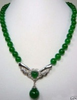 Surprising emerald jade butterfly pendant necklace shipping free