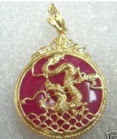 Stunning red jade dragon Jewelry pendant necklace shipping free