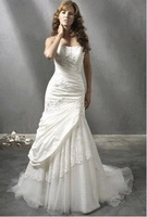 Modern style white Taffeta strapless Sleeveless mermaid Floor-length Beaded Strapless Wedding Dress PD03