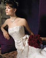 Modern style ivory taffeta Sleeveless Mermaid Floor-length  Strapless Beaded Embroidered Wedding Dress PD10