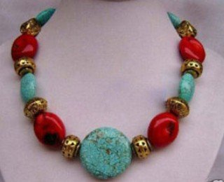 Tribal Jewelry Tibet turquoise& coral necklace shipping free(China (Mainland))