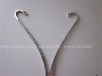free shipping 50pcs tibetan silver bookmark with loop