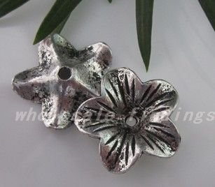 Free Shipping Tibet Silver Flower Bead Caps(China (Mainland))