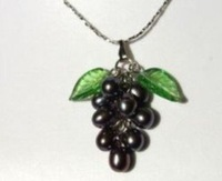 black pearl Grape Jewelry Pendant Necklace shipping free