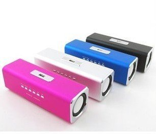 Mini usb Speakers FM USB / MICRO SD/TF card Speakers Color: pink, siliver,black,blue 2pcs(China (Mainland))