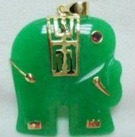 Beautiful Green Jade Elephant Pendant shipping free
