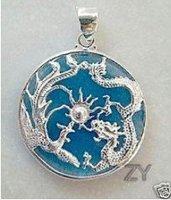 Rare chinese jade inlay dragon pendant necklace  shipping free