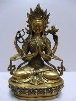 Tibetan Buddhist bronze CHENREZIG buddha statue 20 cm 1.2 KG  free shipping