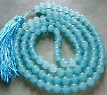 Tibet budista 108 Cyan contas de Jade oração colar Mala frete grátis(China (Mainland))