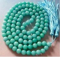 Tibet Buddhist 108 Cyan Jade Beads Prayer Mala Necklace shipping free 115