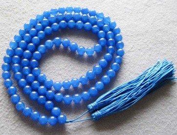 Tibet budista 108 jade azul contas de oração Colar Mala frete grátis(China (Mainland))