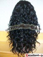 High quality medium density #1 jet black 16 inch wavy wigs