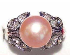 Beautiful Jewelry Silver Pink Pearl CZ Ring shipping free(China (Mainland))