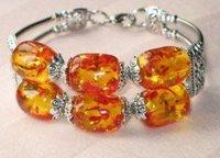 Elegant yellow amber Tibet silver beads Bracelets  shipping free