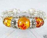 Rare Asian Tribal Jewelry Tibet silver Amber Bracelet  shipping free
