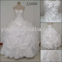 JJ2050 Hot Selling  Free Shipping Satin Organza Strapless Beaded Ball Gown Wedding Dress