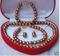 Set 7-8mm Chocolate Pearl necklace&Bracelet&Earring  shipping free