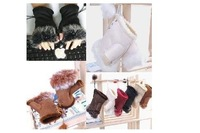 Christmas gift free shipping brand new gloves WRIST WARMER FINGERLESS GLOVE Xmas Rabbit Fur HAND glove gloves 20pair
