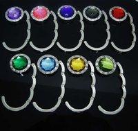 free shipping wholesale brand new 150pcs Folding Bag Purse Hook Crystal Handbag Hanger Holder