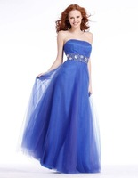 Free shipping A-Line Floor-Length Sleeveless  Beading  Prom Pageant Dress 129