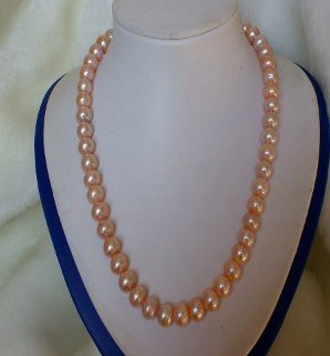 "Jewelry real pink pearl necklace 20"" shipping free(China (Mainland))"