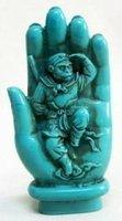 Statue rare de turquoise de singe de Bouddha free shipping