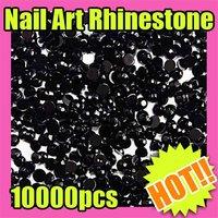 Fast & Free Shipping Wholesales Price 10000 Black Round Nail Art Shiny Glitter Rhinestone Tips Decoation 156