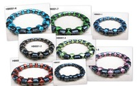 (Free Shipping)7-9'' Magnetic Hematite Bracelet with Deep Green  Plastic Spacer Beads Wholesale and Retail