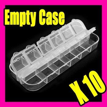 Fast & Free Shipping Wholesales Price 10 Empty Case Nail Art Tips Plastic Rhinestone Box Make-up 006