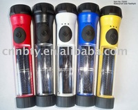 FREE SHIPPING New design round shape hot shot LED Waterproof Solar Hybrid flshlight torch TS095